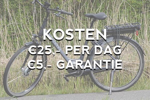 Wat kost een elektrische fiets nou per dag of per week? Bij fietsverhuur EasyFiets kost het 25 euro per dag, met een diefstalgarantie van 5 euro.