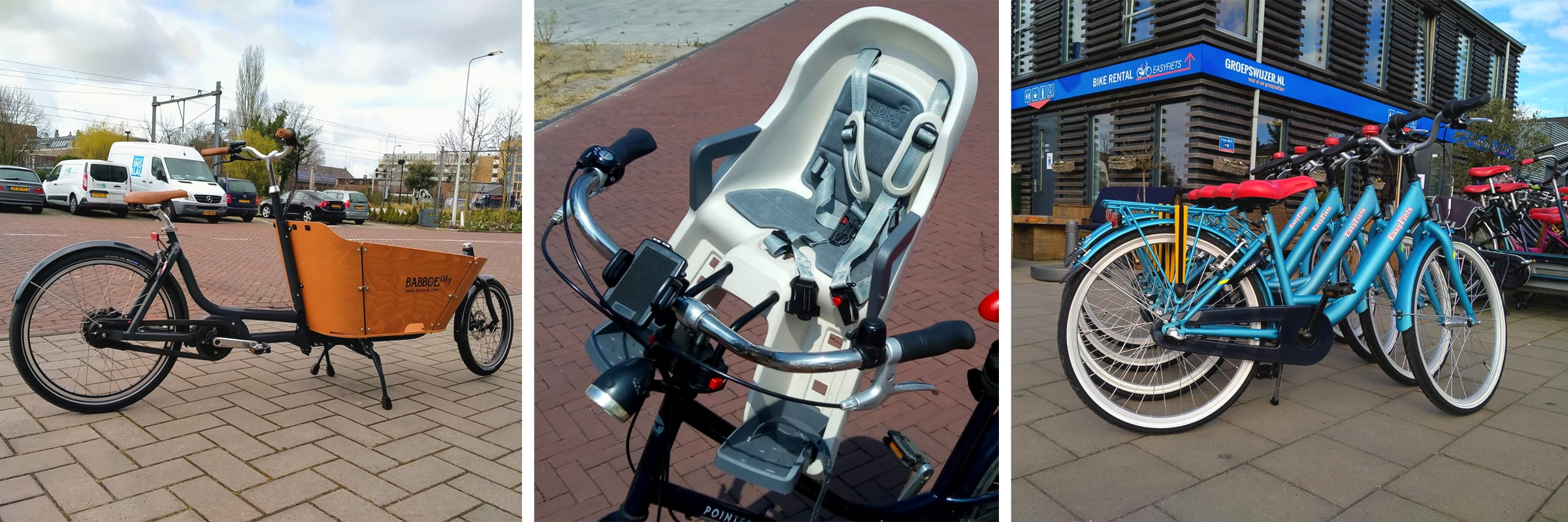 Huur een kinderfiets of elektrische bakfiets om op pad te gaan met je kinderen. Leuke fietstocht met de familie.